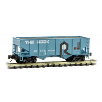 Micro Trains Z Scale Rock Island Line Twin Bay Hopper With Load Road #510700
