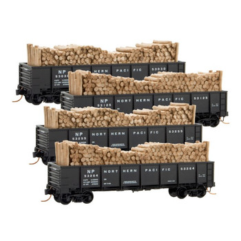 Micro Trains 993 00 155 N Scale Northern Pacific Gondola With Timber Load 4 Pack RP#155