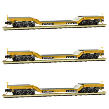 Micro Trains N Scale Depressed Center Flat Car TTX Runner 4 Pack