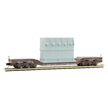 Micro Trains 109 00 150 N Scale Rock Island Depressed Center Flat Car With Load Road Number 92000