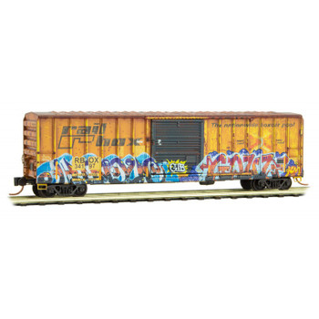 Micro Trains 510 44 017 Z Scale Railbox 50' Boxcar Edgar Allan Poe Graffiti Weathered