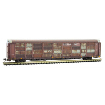 Micro Trains 111 44 320 N Scale Cotton Belt Weathered 89' Tri Level Autorack