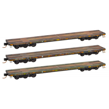 Micro Trains 993 05 520 N Scale DODX Olive Drab Weathered 89' Flat Car 3 Pack