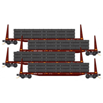 Micro Trains 993 00 157 N Scale BNSF Flat Car With Pipe Load 4 Pack