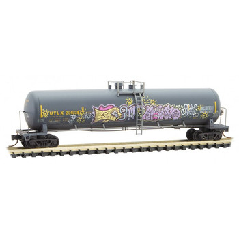 Micro Trains 110 44 430 N Scale UTLX (black) Graffiti Weathered 56' Tank Car