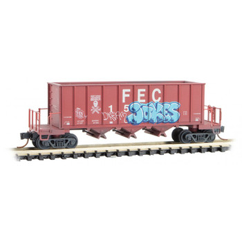 Micro Trains 125 44 020 N Scale FEC Rapid Discharge 43' Hopper With Graffiti Road Number #15726