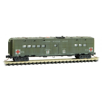 Micro Trains 118 44 050 N Scale US Army Hospital Passenger Car Weathered Road # 8733