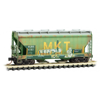 Micro Trains 092 44 040 N Scale HLMX / ex-MKT Weathered 2 Bay Hopper With Graffiti Road # 4182