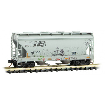 Micro Trains 092 44 460 N Scale Norfolk Southern Two Bay Hopper Weathered With Graffiti 2-Pack
