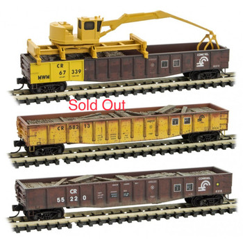 Micro Trains 993 01 880 N Scale Weathered Conrail Tie Loader Gondola 3-Pack