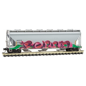 Micro Trains 093 44 150 N Scale Christmas 3 Bay Covered Hopper ACFX Weathered and Graffitied