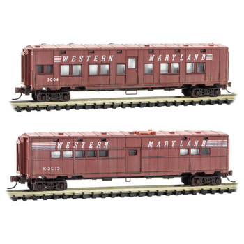 Micro Trains 993 05 570 N Scale Western Maryland Passenger Car Weathered 2 Pack