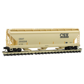 Micro Trains 094 00 610 N Scale CSX 3 Bay Covered Hopper Road Number 255206