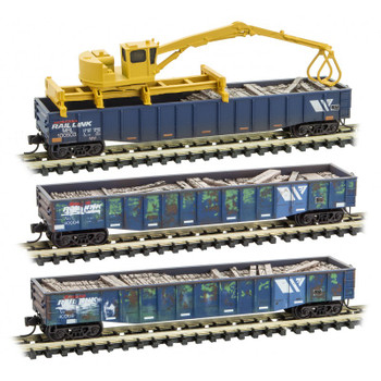 Micro Trains 993 02 030 N Scale Weathered Montana Rail Link Tie Loader Gondola 3-Pack