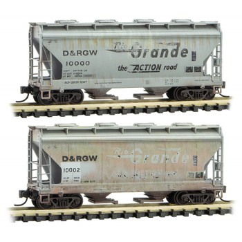 Micro Trains 993 05 590 N Scale Weathered Rio Grande  D&RGW 2 Bay Covered Hopper