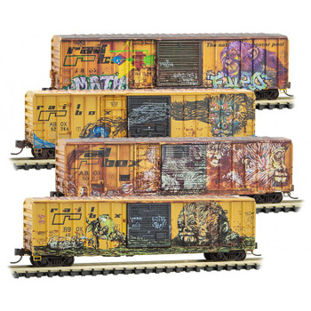 Micro Trains 993 05 600 N Scale Railbox Weathered Graffitied Boxcar 4 Pack