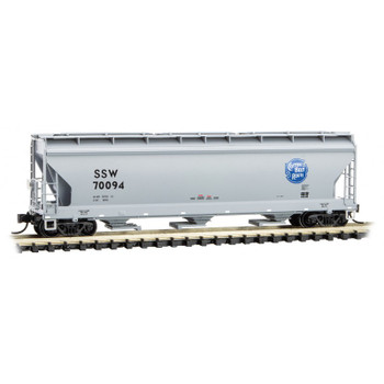Micro Trains 094 00 622 N Scale Cotton Belt 3 Bay Covered Hopper Road #SSW 70094
