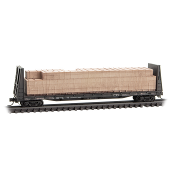 Micro Trains 05444280 N Scale Western Pacific Weathered Bulkhead Flat Car W/load