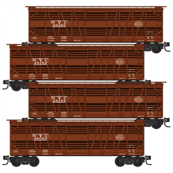 Micro Trains 993 00 174 N Scale NYC New York Central Stock Car Boxcar 4 Pack