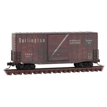 Micro Trains 101 44 140 N Scale Chicago Burlington & Quincy Weathered Hy Cube Box Car