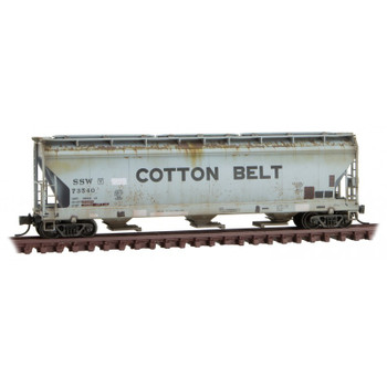 Micro Trains 094 44 670 N Scale Cotton Belt Weathered April Fools Covered Hopper