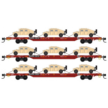 Micro Trains 993 01 621 N Scale DODX Red Flat Car Humvee 3 Pack