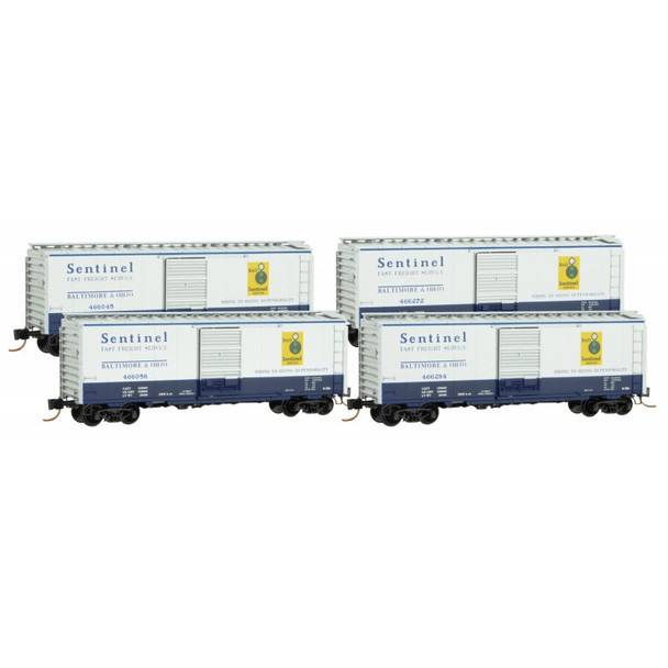Micro Trains 993 00 156 N Scale Baltimore & Ohio B&O Boxcar Runner 4 Pack
