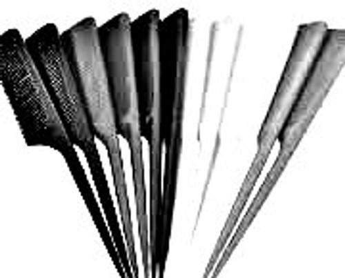 """Brittny 7"""" Bone Tail Comb 12pk (Black)"""