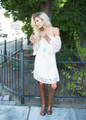 Be Seen Off the Shoulder Lace Dress Ivory