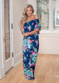Who I Am Floral Off Shoulder Ruffle Maxi Dress Navy