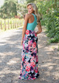 Think A Little Less Floral Tank Maxi Turquoise