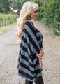 Oversized Striped Dolman Style Sweater Top Black