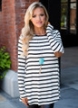Stripe Elbow Patch Button Back Tunic Top Ivory/Black CLEARANCE
