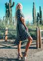 Ruffles and Stripes Midi Dress Charcoal