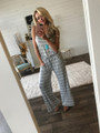 Casually Chic Striped Tie Jumpsuit Grey