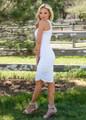 Essential Midi Tank Ruched Bodycon Dress White