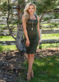 Essential Midi Tank Ruched Bodycon Dress Olive
