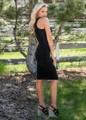 Essential Midi Tank Ruched Bodycon Dress Black