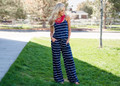 Casually Chic Striped Tie Jumpsuit Navy/White