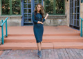 Hour Glass Layering 3/4 Sleeve Midi Dress Charcoal