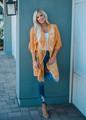 Don't Make Me Wait Crochet Lace Long Cardigan Mustard