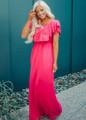 Need You Now Ruffle Top Maxi Dress Fuchsia