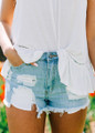 Light Perfectly Distressed Denim Shorts CLEARANCE