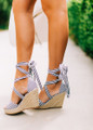 So Perfect Striped Tie Up Wedges Black/White CLEARANCE