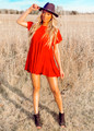 My Heart Is All Yours Detailed Babydoll Ruffle Tunic/Dress Red CLEARANCE