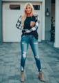 Black and White Checkered Sleeve Sequins Pocket Top Black