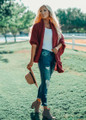 Laugh And Love Knit Dolman Cardigan Rust