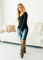 Basic and Casual V-Neck Long Sleeve Top Black