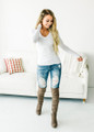 Basic and Casual V-Neck Long Sleeve Top White