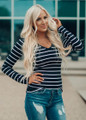 Must Have Striped V-Neck Layering Tunic Top Black